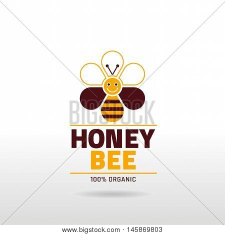 Bee honey logo icon with cartoon flat honeybee, text lettering on color background. Modern elegant style, beekeeping food concept, wildlife abstract template.