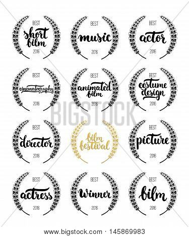 Set of awards for best film, actor, actress, director, music, picture, winner and short film with wreath and 2016 text. Black and golden color film award wreaths isolated on the white background