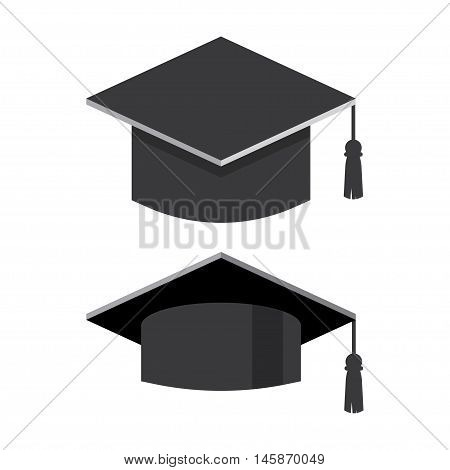 Graduation cap flat vector illustration. Graduation hat logo. Academic caps. Graduation cap isolated on the background. Graduation cap flat icon.