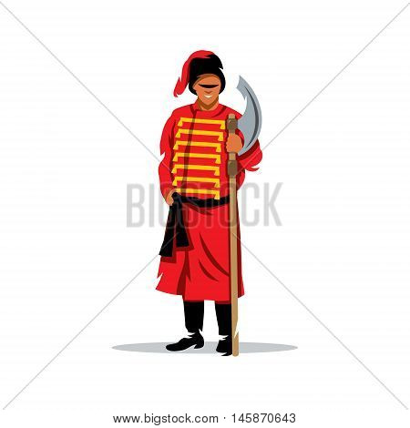 Medieval warrior with poleaxe. Isolated on a white background