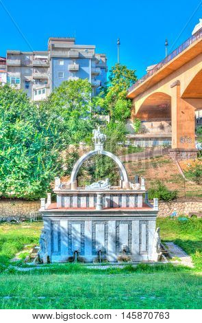 Ancient Fountain In The City In Hdr