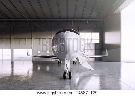 Image of White Glossy Luxury Generic Design Private Jet parking in hangar airport. Concrete floor. Business Travel Picture. Horizontal, front view. Film Effect. 3D rendering