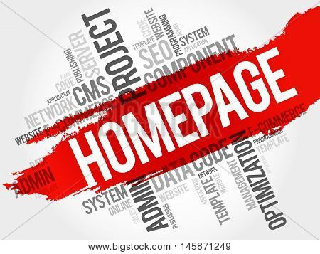Homepage word cloud business concept, presentation background