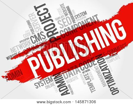 Publishing word cloud business concept, presentation background