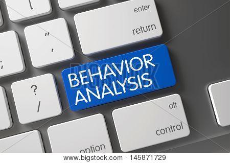 Behavior Analysis Concept Modern Laptop Keyboard with Behavior Analysis on Blue Enter Key Background, Selected Focus. 3D.