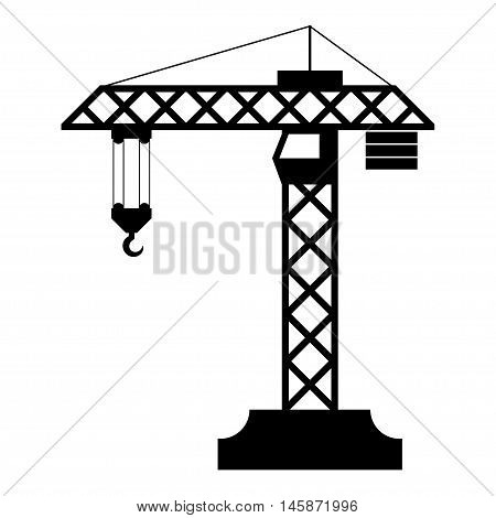 Construction crane silhouette isolated on white background. Vector illustration
