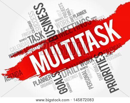 MULTITASK word cloud business concept, presentation background