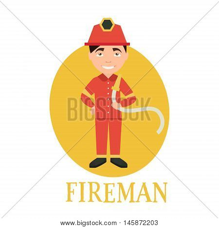 Profession fireman. young man working as a fireman . vector illustration