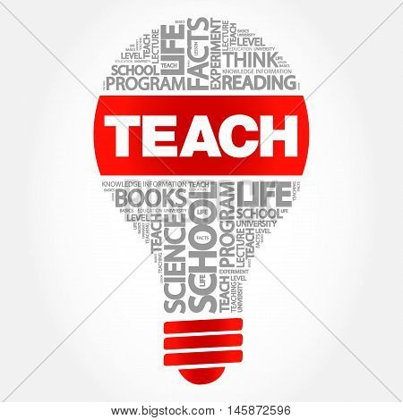 TEACH bulb word cloud business concept, presentation background