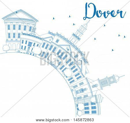 Outline Dover Skyline with Blue Buildings and Copy Space. Vector Illustration. Business Travel and Tourism Concept with Historic Buildings. Image for Presentation Banner Placard and Web Site.