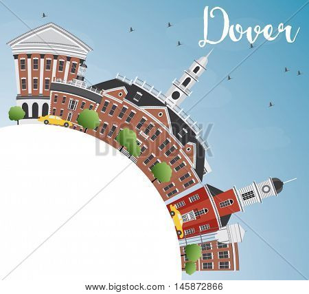 Dover Skyline with Color Buildings, Blue Sky and Copy Space. Vector Illustration. Business Travel and Tourism Concept with Historic Buildings. Image for Presentation Banner Placard and Web Site.