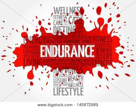 ENDURANCE word cloud health cross concept, presentation background