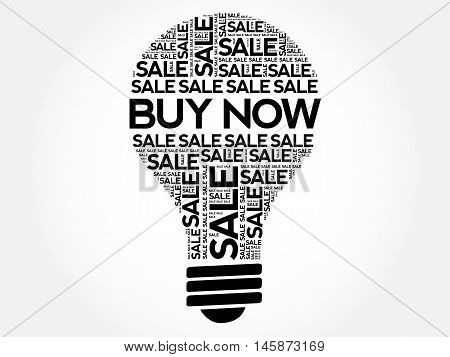 Buy Now Bulb Word Cloud