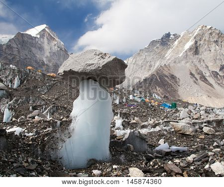 View from Mount Everest base camp with abstract ice and stone mushroom and tents sagarmatha national park trek to Everest base camp - Nepal