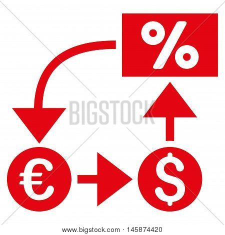 Currency Cashflow icon. Vector style is flat iconic symbol, red color, white background.