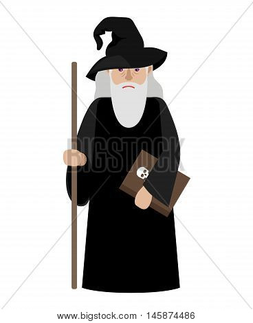 Cartoon wizard vector illustration. Magic old man enchanter or magician isolated on white background