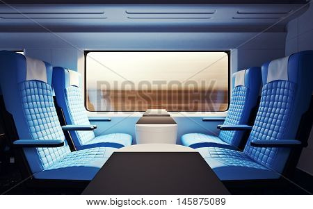 Interior Inside First Class Cabin Modern Speed Express Train.Nobody Leather Chairs Window.Comfortable Seats Table Business Travel. 3d rendering.High Textured Row Materials.Motion Blurred Background