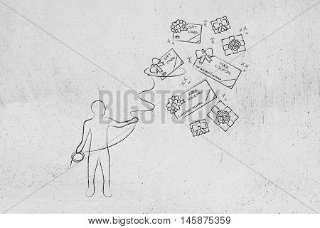 Person With Lasso Catching Free Coupons, Client Rewards