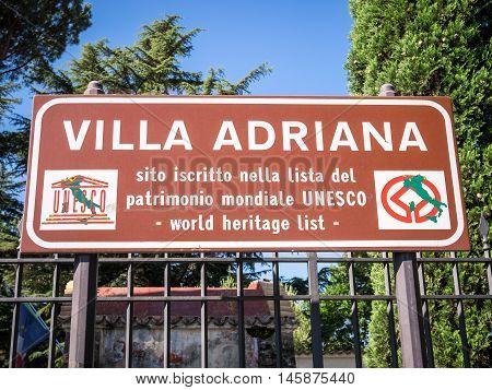 Hadrian's Villa Information Sign, Tivoli, Italy