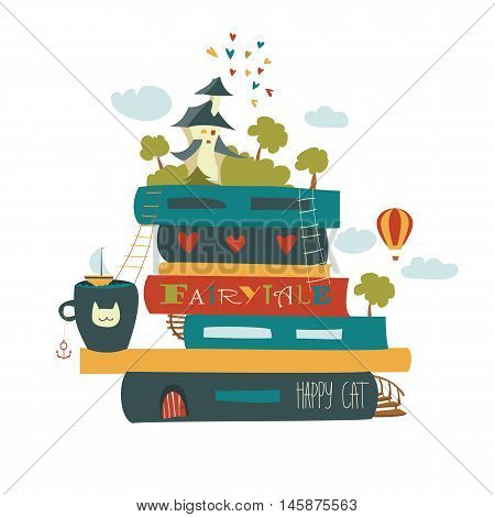 Fairytale concept with book and medieval castle. Vector illustration