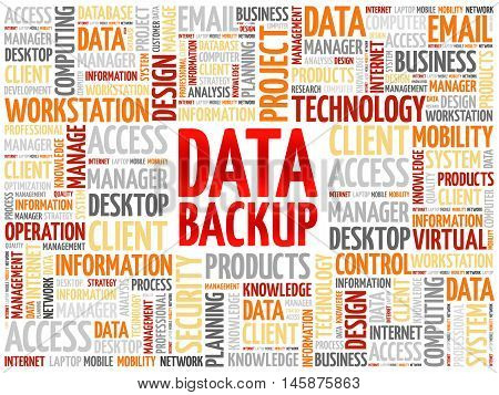 Data Backup word cloud concept, presentation background