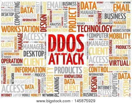 DDOS Attack word cloud concept, presentation background