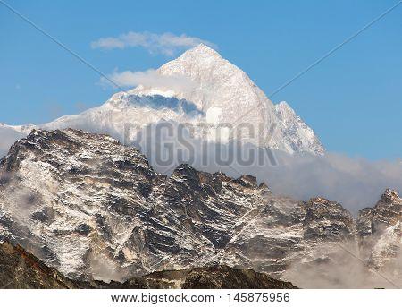 Evening view of mount Makalu (8463 m) from mount Gokyo ri - Way to Everest base camp Everest area Sagarmatha national park Khumbu valley Nepal