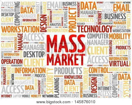 Mass Market word cloud concept, presentation background