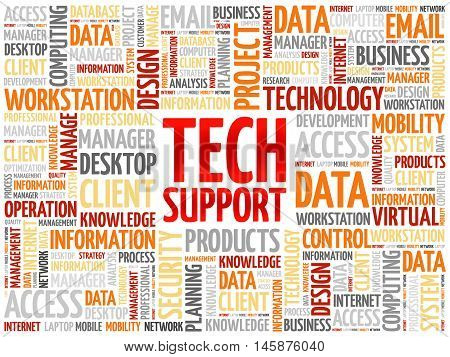 Tech support word cloud concept, presentation background