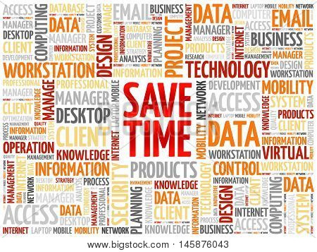 Save Time word cloud concept, presentation background