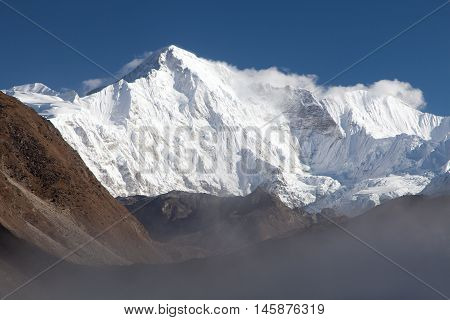 View of mount Cho Oyu three passes trek and Cho Oyu base camp trek Sagarmatha national park Khumbu valley Nepal