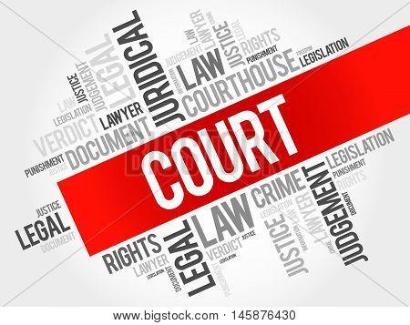 Court word cloud concept , presentation background