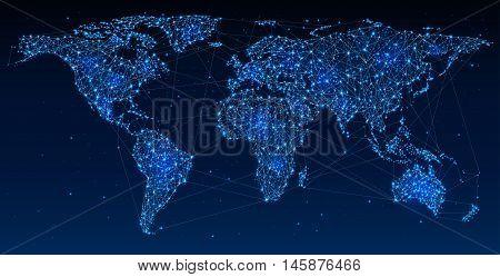 Global Telecommunications World Network on Map Abstract illustration of global social communication polygonal map with hot points network connection. Contains transparency