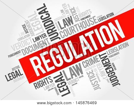 Regulation word cloud concept , presentation background