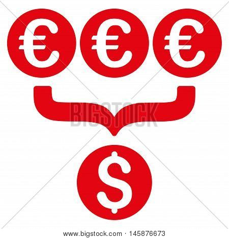 Euro Dollar Conversion Aggregator icon. Vector style is flat iconic symbol, red color, white background.
