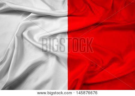 Waving Flag of Bari Italy, with beautiful satin background.