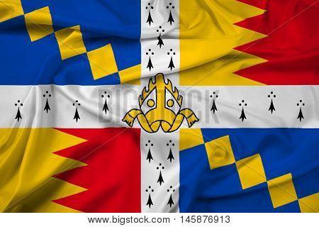 Waving Flag Of Birmingham (the Birmingham Council Banner), England, Uk