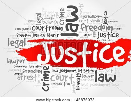 Justice word cloud concept , presentation background
