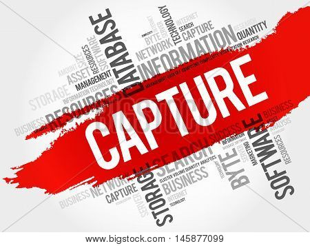 Capture word cloud business concept, presentation background