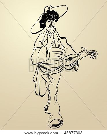 street musician mandolin cartoon sketch of a man with a big mustache wearing a hat on his head