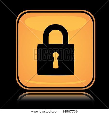 Yellow square icon locked padlock