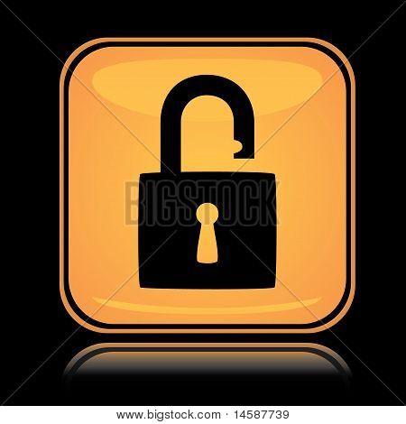 Yellow square icon unlocked padlock