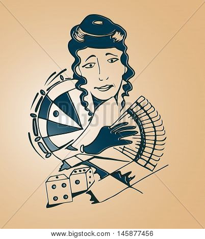 Retro portrait of a woman in a casino at roulette environment cubes for dice