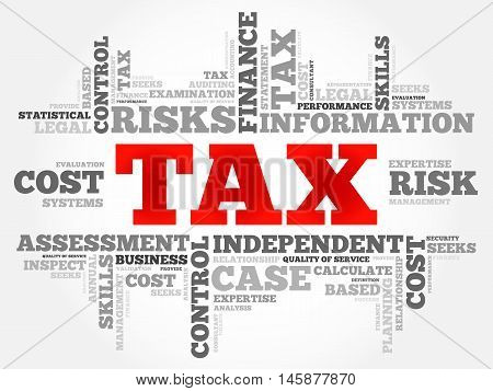 TAX word cloud business concept, presentation background