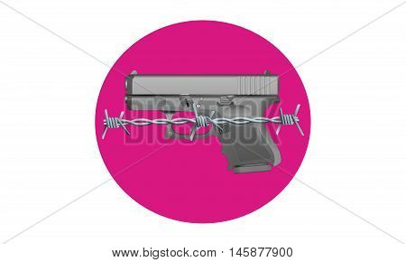 Gun Control - An illustration of a handgun in front of a pink circle with barbed wire across the front