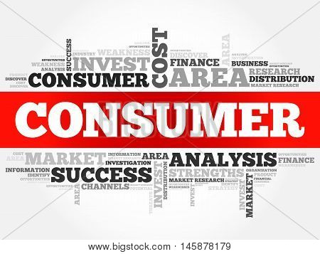 Consumer word cloud business concept, presentation background