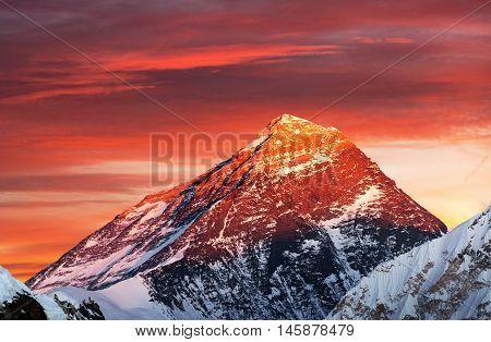 Evening colored view of Mount Everest from Gokyo Ri Khumbu valley Solukhumbu Sagarmatha national park Nepal