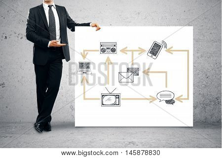 Man Showing Technology Network