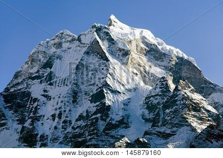 View of mount Kangtega one from the best mouns around Namche Bazar Khumbu valley Sagarmatha national park Nepal