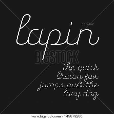Cute script font in lowercase (oblique version)
